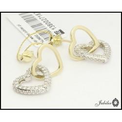 Złote kolczyki - serca - zdobione cyrkoniami (27187)