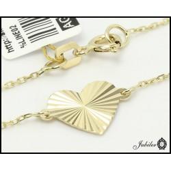 Złoty naszyjnik - celebrytka - serce zdobione diamentowaniem (27162)