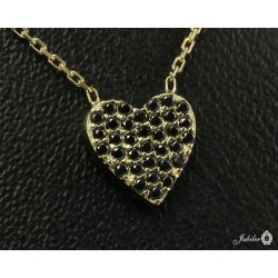 Gold necklace with heart decorated with zircons - two-sided (27155)