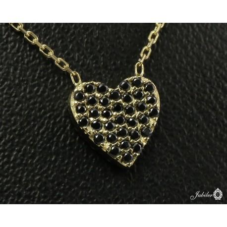 Złoty naszyjnik z sercem zdobionym cyrkoniami - dwustronny (27155)
