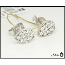 Gold teardrop earrings with cubic zirconia (27261)
