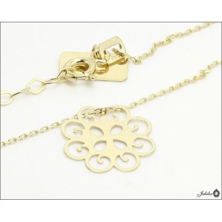 Złoty naszyjnik - celebrytka - ażurowy kwiat
