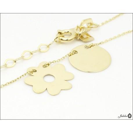 Złoty naszyjnik - celebrytka - koniczyna i koło