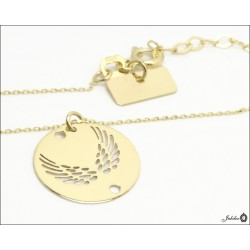 Gold necklace - celebrity - wing circle (28419)