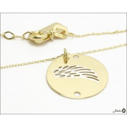 Gold necklace - celebrity - wing in a circle (28421)