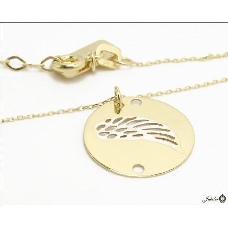 Złoty naszyjnik - celebrytka - skrzydło w kole (28421)