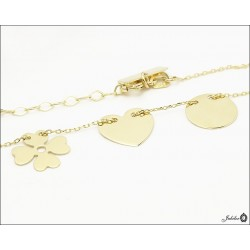 Gold necklace - celebrity - clover, heart and circle (28425)
