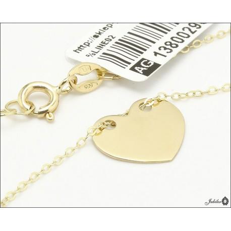 Złoty naszyjnik celebrytka serce (29669)