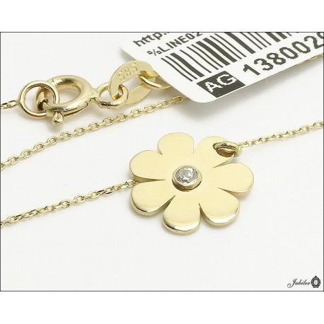 Złoty naszyjnik celebrytka kwiatek z cyrkonią (29667)