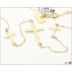 Złoty naszyjnik - celebrytka - 3 krzyżyki (31111)