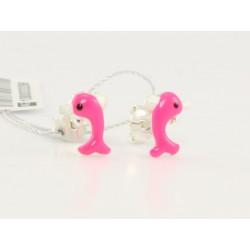 Srebrne kolczyki - delfiny różowe (33207)