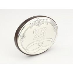 Posrebrzany owalny obrazek - 25 rocznica ślubu (1380033758)